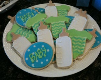 Baby Shower Cookies, onesie cookies, baby bottle cookies, boy cookies