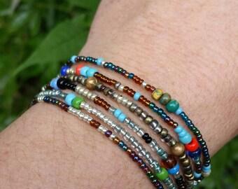 Metallic beaded bracelet. Beaded bracelet. Colorful bracelet. Gold bracelet silver bracelet stackable bracelet boho bracelet hippie beads