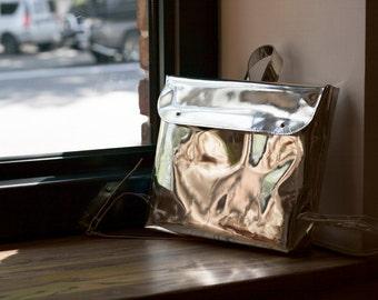 Genuine leather metallic chrome minimalistic backpack rucksack, silver leather backpack, laptopbag, city backpack