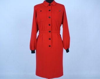 Valentino, MissV, Red, 42, Vintage, Dress, Long Sleeve,
