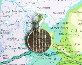 Netherlands quarter coin charm in birth year 1990 - 1991 - 1992 - 1993 - 1994 - 1995 - 1996 - 1997 - 1998 - 1999 - 2000
