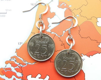 Netherlands quarter coin earrings in year of birth 1948 - 1950 - 1951 - 1952 - 1953 - 1954 - 1955 - 1956 - 1957 - 1958 - 1959