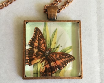 Butterly Stamp Pendant Necklace