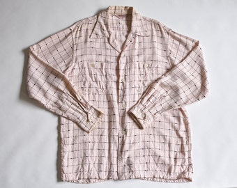 50's pink and black cotton shirt