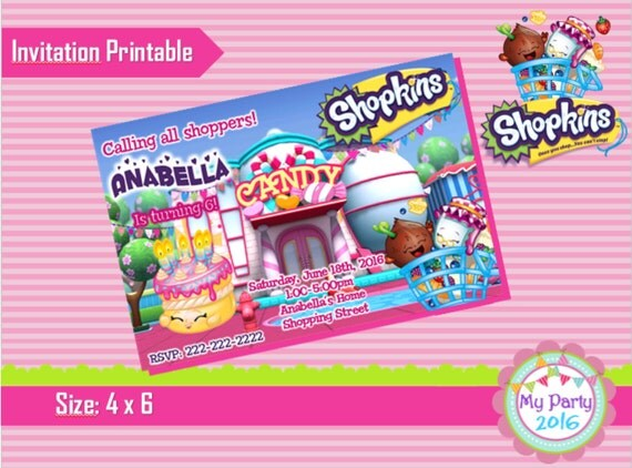 Shopkins Birthday Party Invitation - Printable