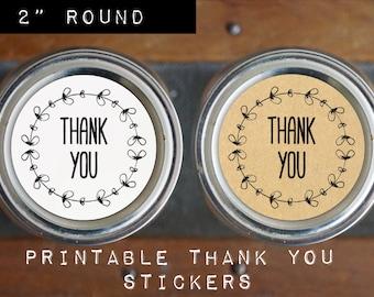 Printable DIY Thank You Stickers, Thank You Tags, Mason Jar Label, White & Kraft, 2 Inch Round, Full Sheet, PDF