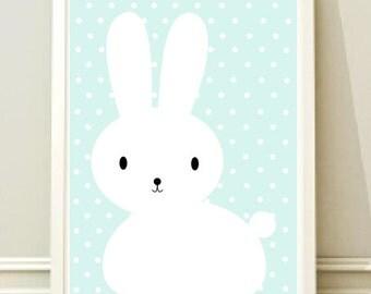 Nursery Wall Art, Print, Bunny Art Print, Poster, Home decor, Kids room, Gift,Printable poster,Instant download