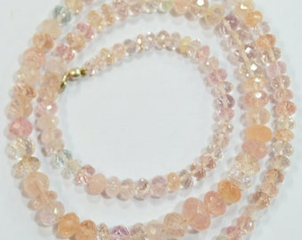 natural gem stone multi color morganite faceted beads complete necklace top quality 117 carats 18.5 inches 3 to 8 mm