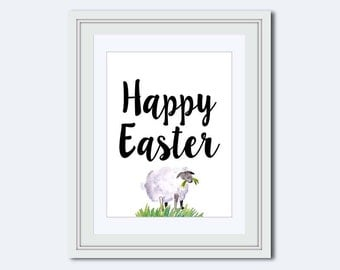 easter printables - Happy Easter printable - Easter wall art - lamb Printable - childrens wall art - Easter Decor - kids printable
