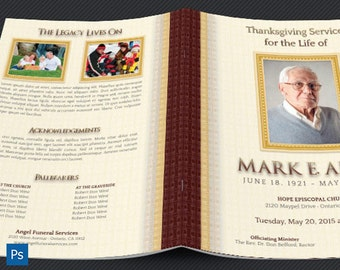 Legacy Funeral Service Program Photoshop Large Template
