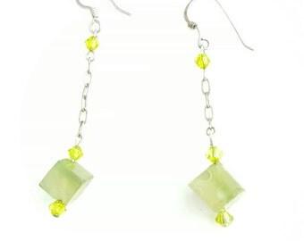 Vintage Green Cube Dangle Long Chain Earrings