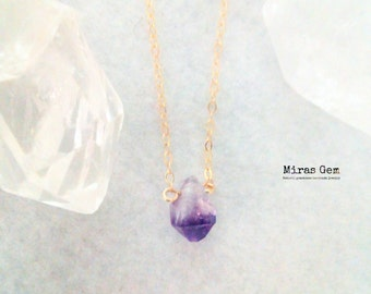 14kgf tiny raw amethyst necklace