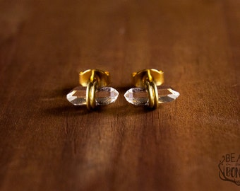 Mini Herkimer Diamond Earrings, Herkimer Stud Earrings, Herkimer Earrings, Herkimer Diamond Stud Earrings, Herkimer Crystal Earrings, Witchy
