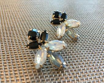 Evening wear gold black gret crystal earrings