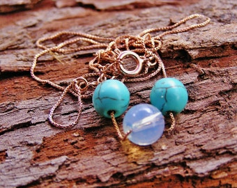 Crystal Spiritual healing 18 Carat Gold Plated Turquoise And Moonstone Soul Journey Serenity Necklace