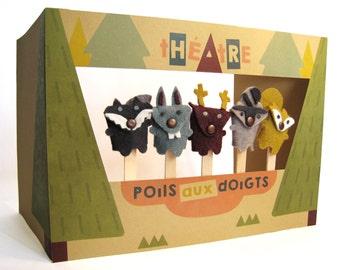 Petit théâtre de marionnettes animaux de la forêt / fait main