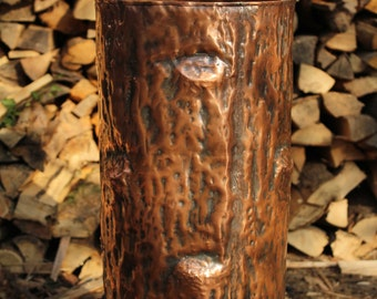 Umbrella stand in handmade copper nature Tree Trunk receptacle