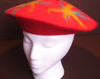 Needle-Felt Embellished Wool and Mohair Beret - Primary Colors