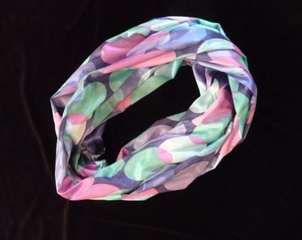 Infinity Scarf in Blues, Purples, Pinks and Greens