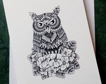 Violet Owl - Greeting Card with print of original artwork