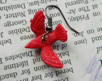 Red Bird Dangle Earrings