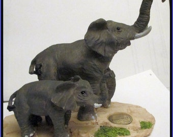 "Elephants--""ZoobabeeZ '""   Mother, Baby /  Limited Edition / Zoo Animals Figurines / Safari / Knick Knacks / Albert E. Price / Statuettes"