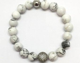 White Turquoise Bracelet, White Howlite, Micro pave,White jewelry, black pave jewelry,men's bracelet, women's bracelet, buffalo turquoise
