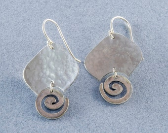 Hammered Sterling Silver Earrings with Spirals