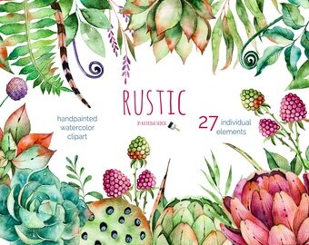 Rustic Watercolor handpainted collection. 27 individual elements