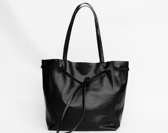 Genuine Black Italian Leather Bag with Leather Rope/ Soft Black Leather Tote Bag/Raw Edged Shopper
