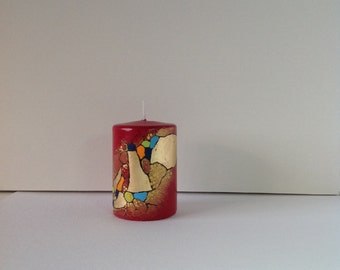 High quality hand painted wax candle. Professional quality acrylic and gold leaf paint.