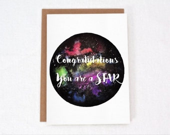 Congratulations greeting card, you are a star,