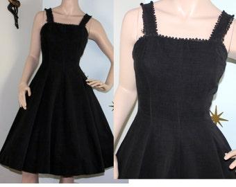 SALE! Vintage 1950s black corduroy pom pom full swing dress pockets small 219
