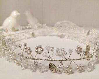 Bridal Hair Vine, Headpiece, Silver Leaf