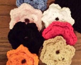 Button-on Crochet Flowers