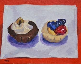 Tarts, still life, oil painting, dessert, realism, kitchen art, food art, impressionism
