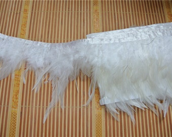 hackle feather fringe trim 10 yards of white color for sewing desgin
