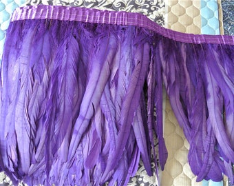 rooster hackle feather fringe trim 5 yards of purple color