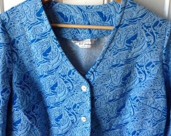 Plus size vintage blue print blazer