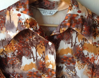 Plus size vintage oxford blouse with abstract trees