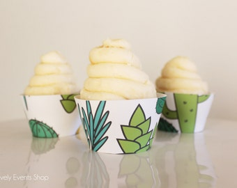 NEW! Fun Dessert Cactus Cupcake Wrappers, Cactus Party, Cactus Supplies, Party Cupcake Wrappers, Cupcake Wrappers- Set Of 6,12,16,24+
