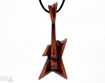 Electric Guitar Necklace - Handcrafted Wood Rock Pendant - CristherArt Jewelry