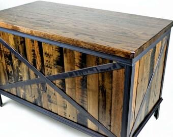 Industrial Desk - Workstation - Reclaimed Oak and Pine