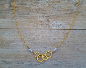 Honeycombs necklace, gold plated and white Swarovski crystals, hand made