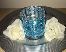 "Set of 2 glass candle holder vase and 4"" w/ turquoise flower rhinestone"