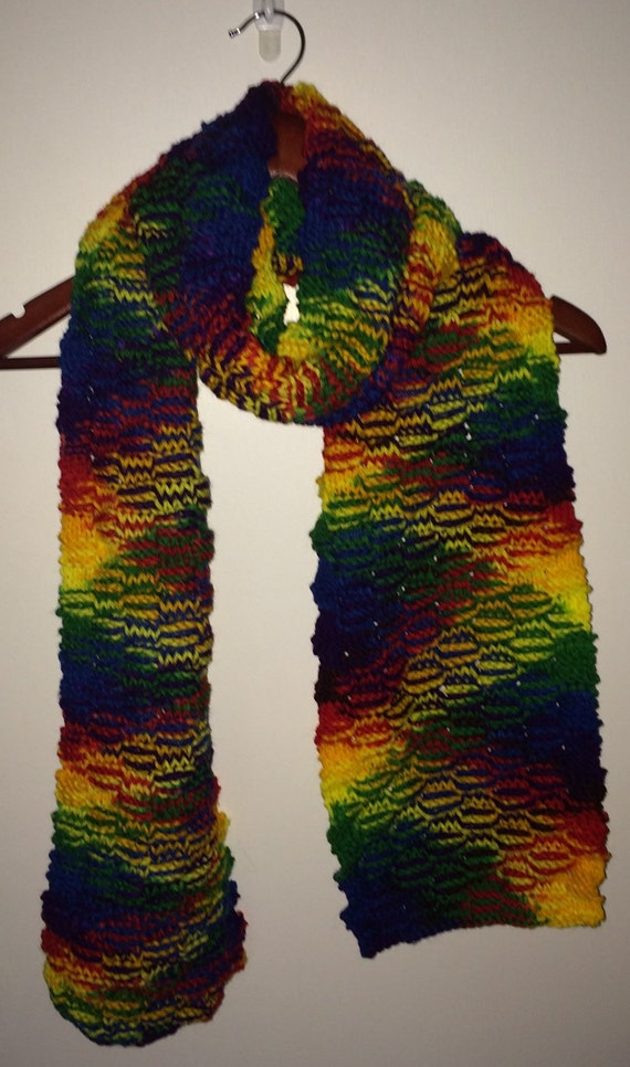 Knitting Pattern For Rainbow Scarf : Hand Knit Rainbow Scarf