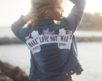 Make love not war denim jacket