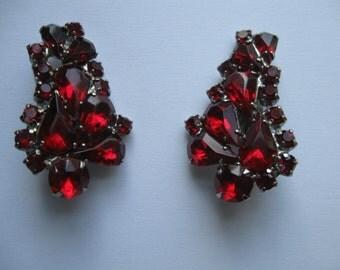 Beautiful Red Rhinestone Earrings