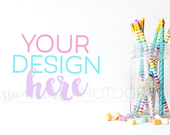 Glitter Heart Jar of Pencils + Heart Candy Styled Desktop,  Styled Stock Photography, Styled Mockup, Product Background Photo