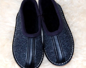 Filpantoffeln, half-height slippers, moccasins, felt sole, Gr. 35-46, new
